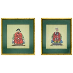 1960s Chinoiserie Emperor and Empress Framed Needlepoint Textile Art, Pair