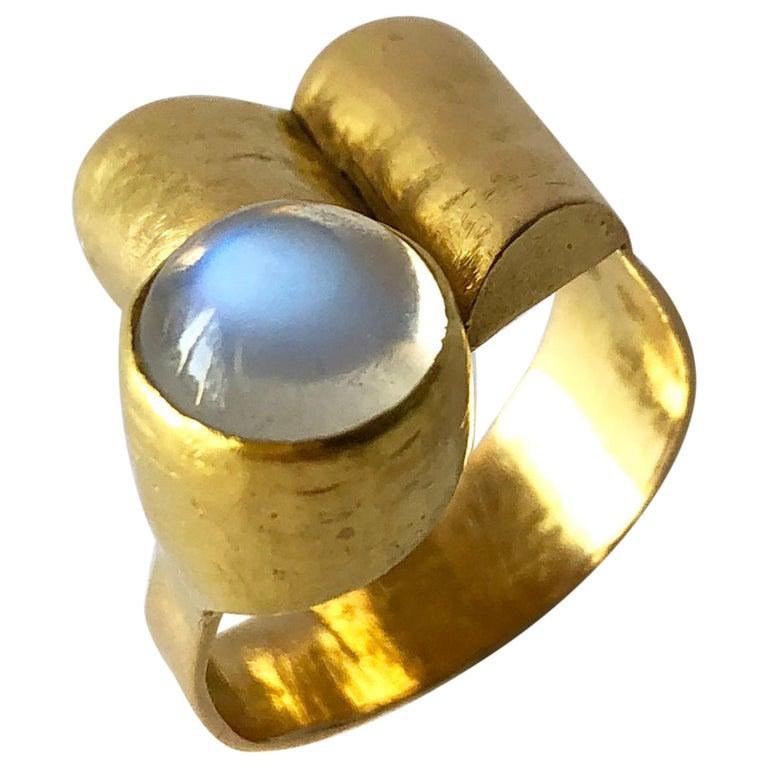 1960s Christa Bauer 18 Karat Gold Moonstone German Modernist Ring For Sale
