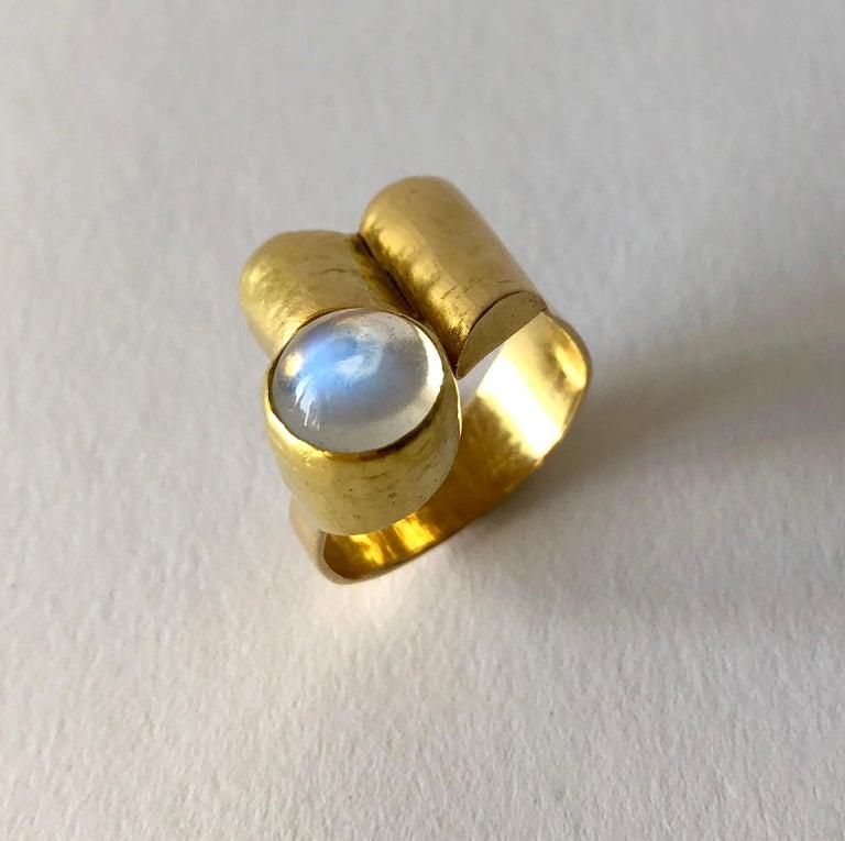 Cabochon 1960s Christa Bauer 18 Karat Gold Moonstone German Modernist Ring For Sale