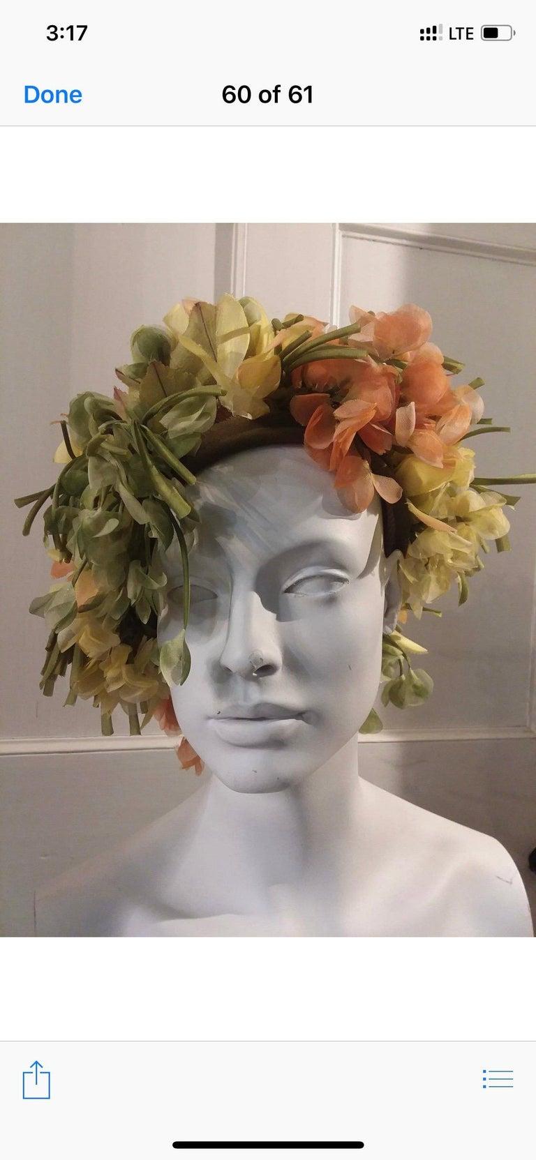 1960s Christian Dior Autumnal Hat W/ Silk Florals & Leaves Over Netting. Olive velvet edging. Originally sold at John Wanamakers, Philadelphia. Size - Medium.