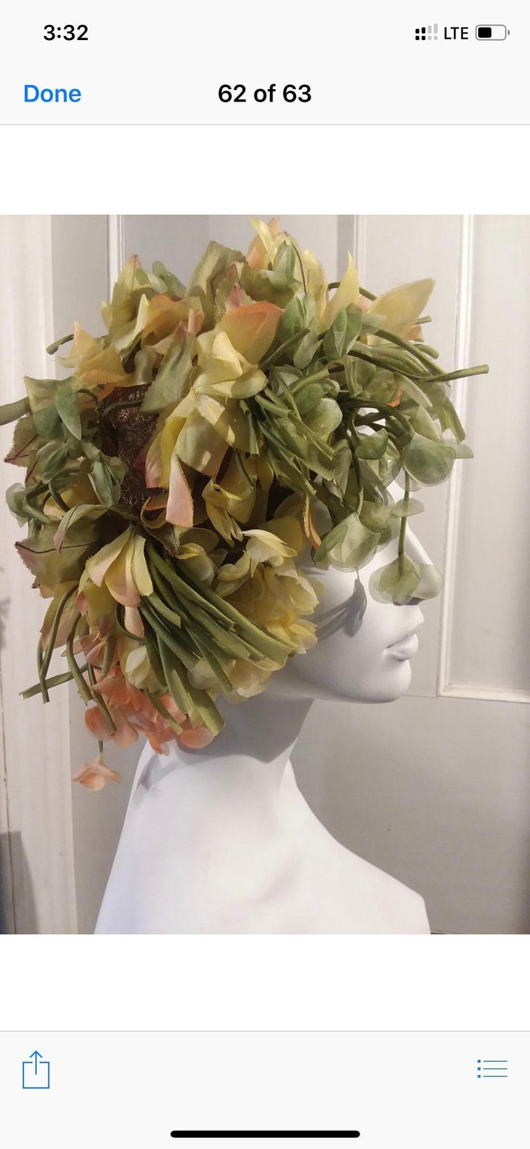 Brown 1960s Christian Dior Autum600nal Hat W/ Silk Florals & Leaves Over Netting  For Sale