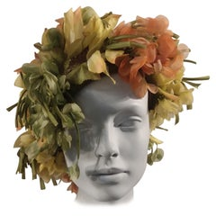 1960s Christian Dior Autum600nal Hat W/ Silk Florals & Leaves Over Netting