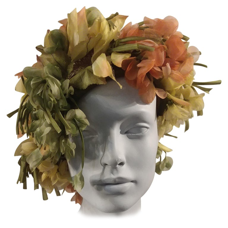 1960s Christian Dior Autum600nal Hat W/ Silk Florals & Leaves Over Netting  For Sale
