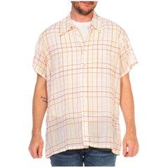 1960S CHRISTIAN DIOR Orange Pin Stripe Plaid Cotton Voile Men's Shirt