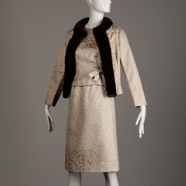 1960s Christian Dior Vintage Silk + Mink Fur Dress Ensemble (Top/ Skirt/ Jacket) For Sale 5