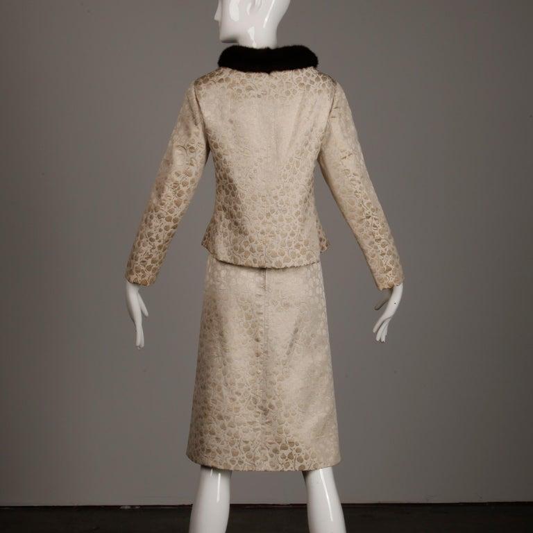 1960s Christian Dior Vintage Silk + Mink Fur Dress Ensemble (Top/ Skirt/ Jacket) For Sale 7