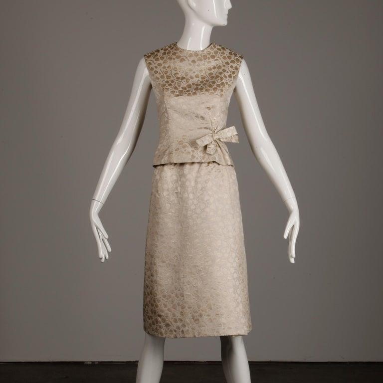 1960s Christian Dior Vintage Silk + Mink Fur Dress Ensemble (Top/ Skirt/ Jacket) For Sale 8