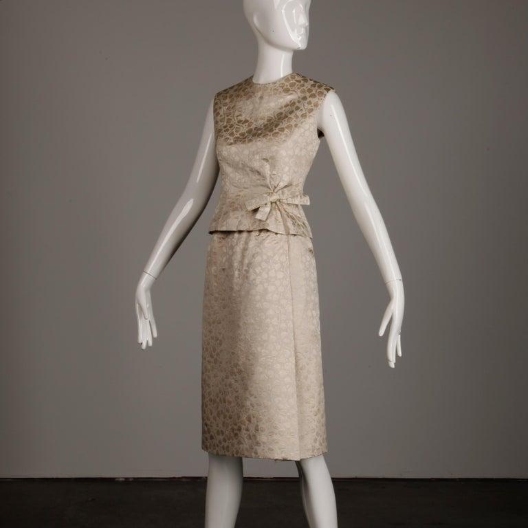 Brown 1960s Christian Dior Vintage Silk + Mink Fur Dress Ensemble (Top/ Skirt/ Jacket) For Sale