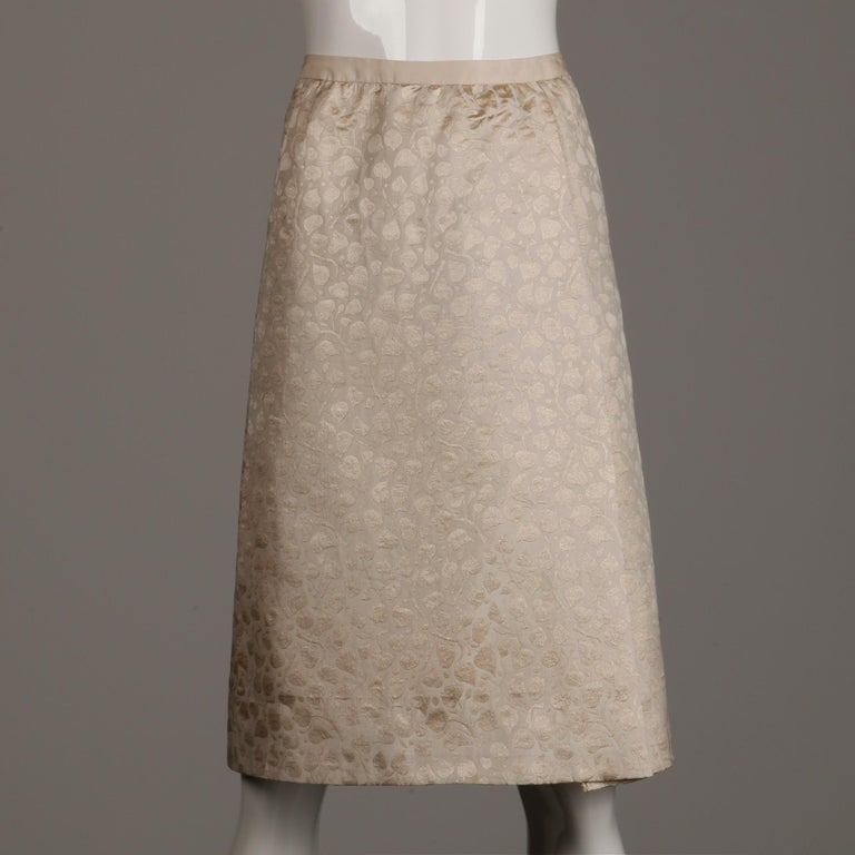 1960s Christian Dior Vintage Silk + Mink Fur Dress Ensemble (Top/ Skirt/ Jacket) In Excellent Condition For Sale In Sparks, NV
