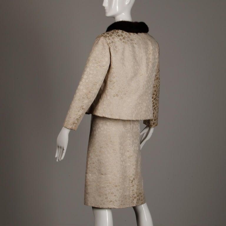 1960s Christian Dior Vintage Silk + Mink Fur Dress Ensemble (Top/ Skirt/ Jacket) For Sale 1