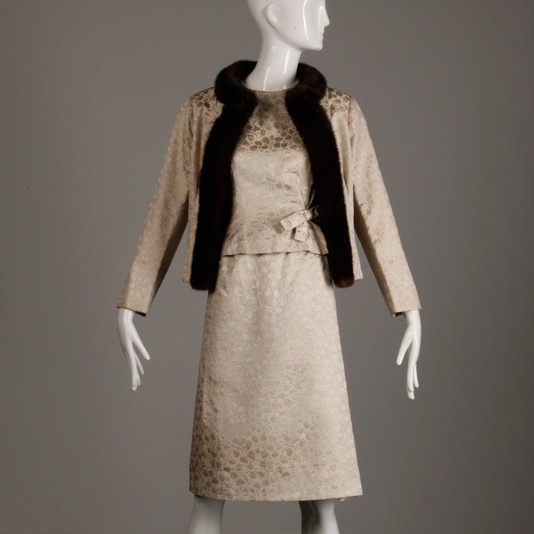 1960s Christian Dior Vintage Silk + Mink Fur Dress Ensemble (Top/ Skirt/ Jacket) For Sale 3