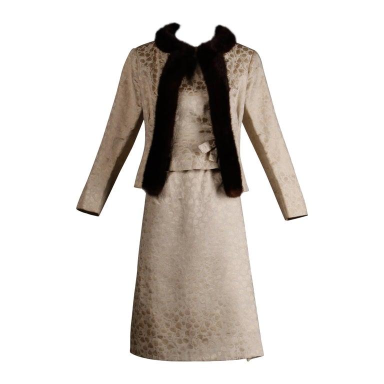1960s Christian Dior Vintage Silk + Mink Fur Dress Ensemble (Top/ Skirt/ Jacket) For Sale