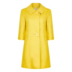1960s Christian Dior Yellow Mod Style Swing Coat With Oversized Button Detail