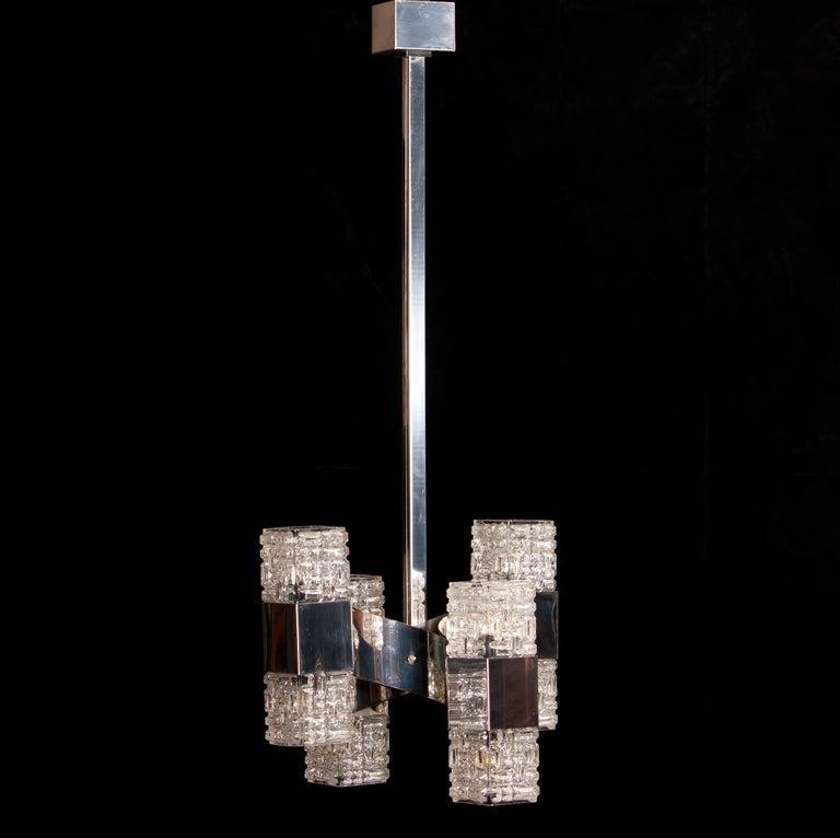 Mid-20th Century 1960s, Chrome and Glass Pendant by Gaetano Sciolari For Sale