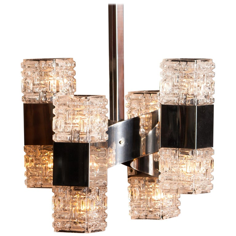 Mid-Century Modern 1960s, Chrome and Glass Pendant by Gaetano Sciolari, Italy For Sale