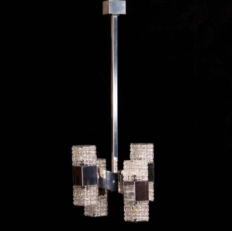 1960s, Chrome and Glass Pendant by Gaetano Sciolari, Italy In Good Condition For Sale In Silvolde, Gelderland