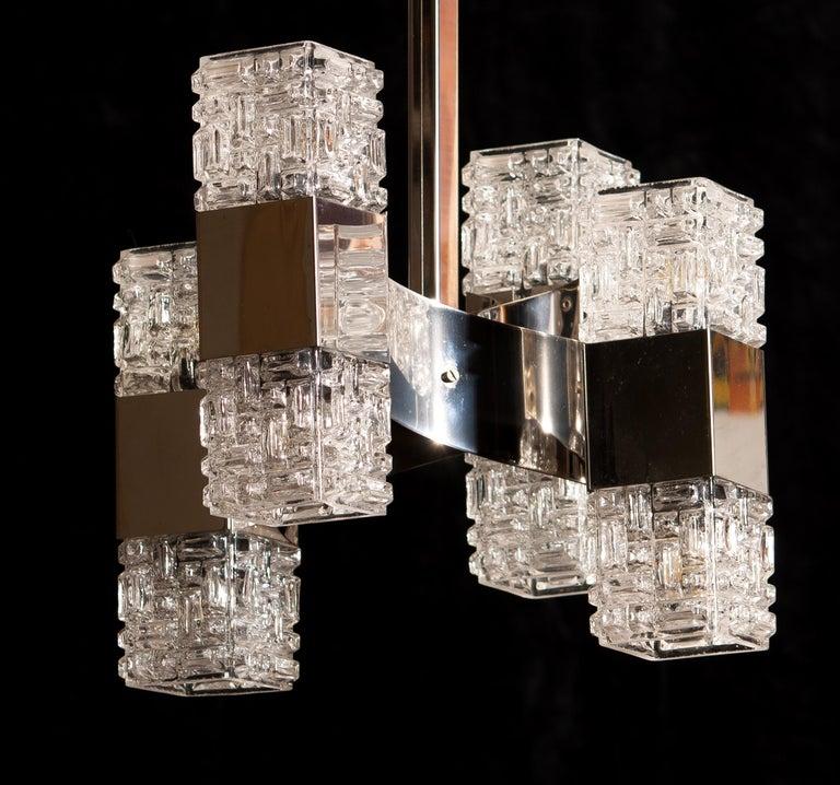Mid-20th Century 1960s, Chrome and Glass Pendant by Gaetano Sciolari, Italy For Sale