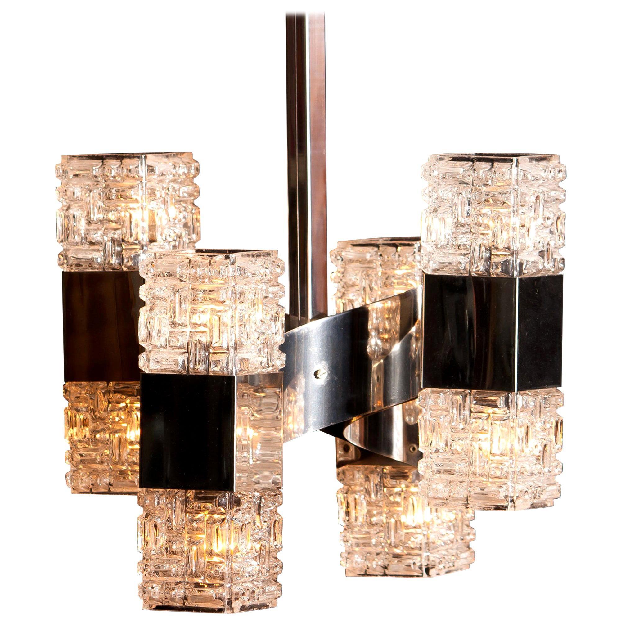 1960s, Chrome and Glass Pendant by Gaetano Sciolari, Italy