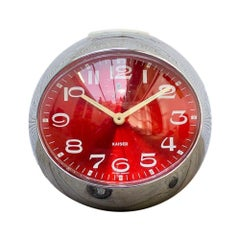 1960s Chrome and Red German Table Clock from Kaiser