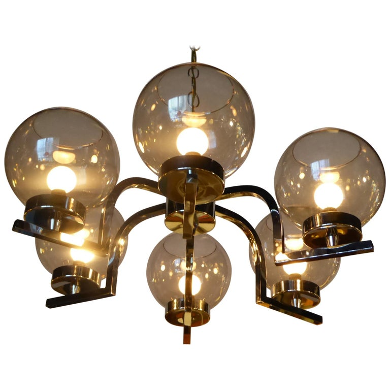 1960s Chrome and Smoked Glass Ball Globe Six-Light Chandelier For Sale
