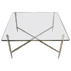 1960s Chrome Bamboo Glass Top Table