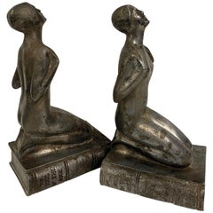 "1920s Chrome Female Bookends, ""The Soul of The Book"""