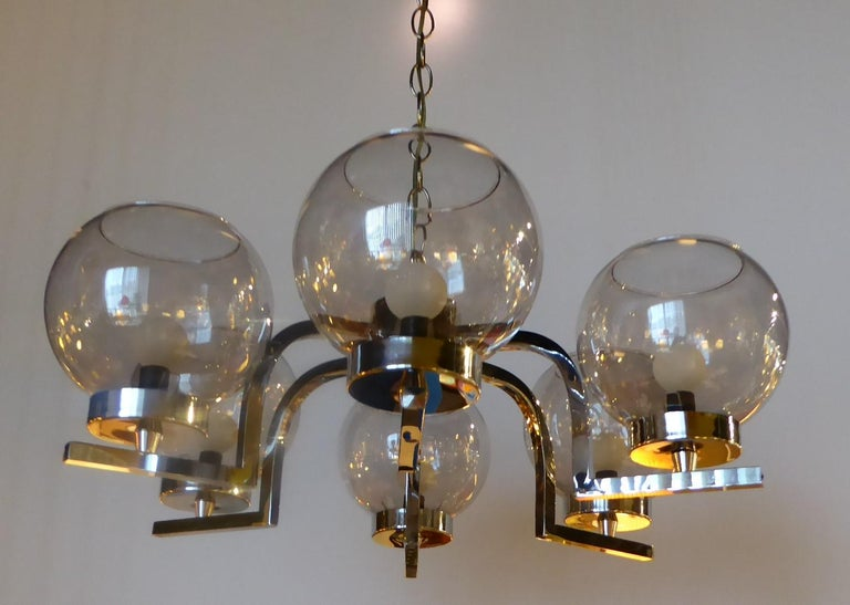 Mid-Century Modern 1960s Chrome and Smoked Glass Ball Globe Six-Light Chandelier For Sale
