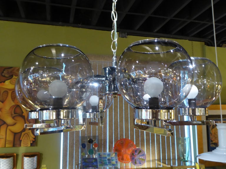 American 1960s Chrome and Smoked Glass Ball Globe Six-Light Chandelier For Sale