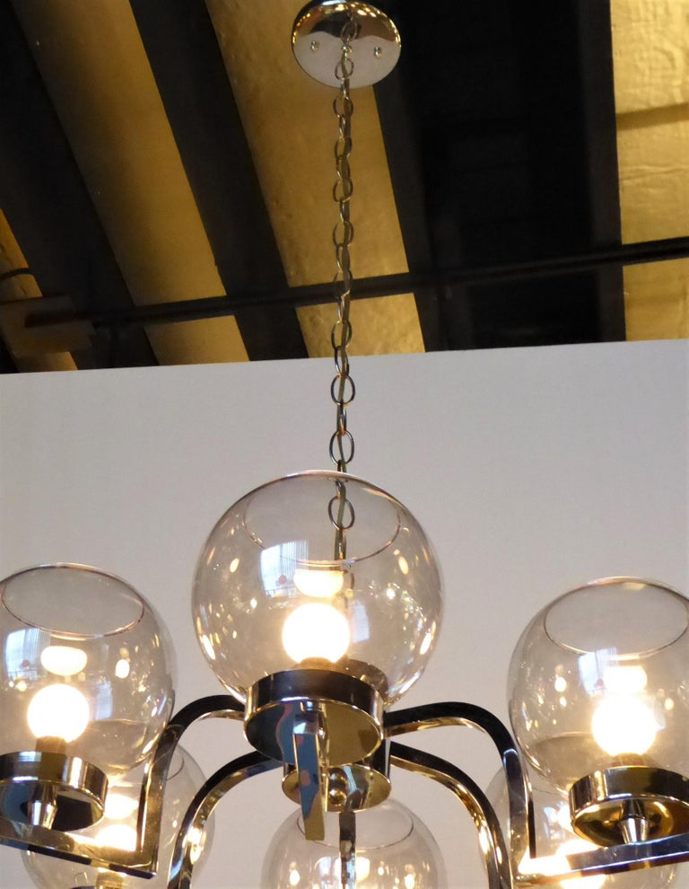 Mid-20th Century 1960s Chrome and Smoked Glass Ball Globe Six-Light Chandelier For Sale