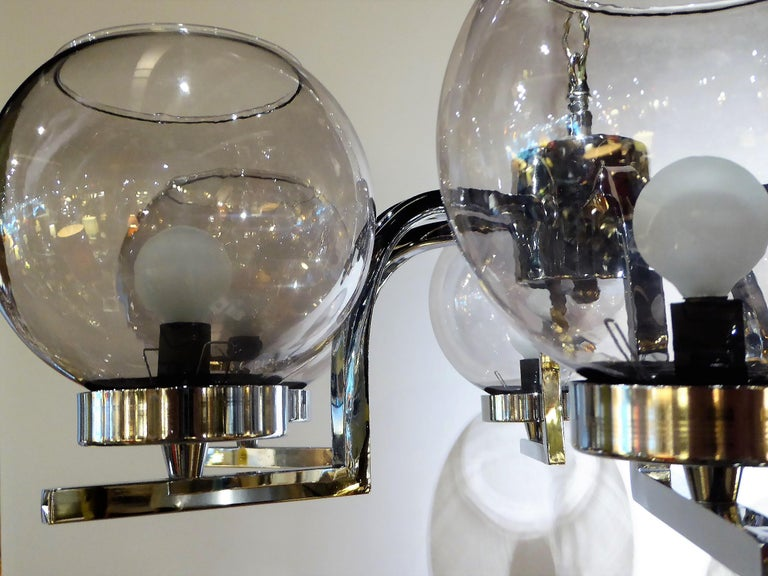 Blown Glass 1960s Chrome and Smoked Glass Ball Globe Six-Light Chandelier For Sale