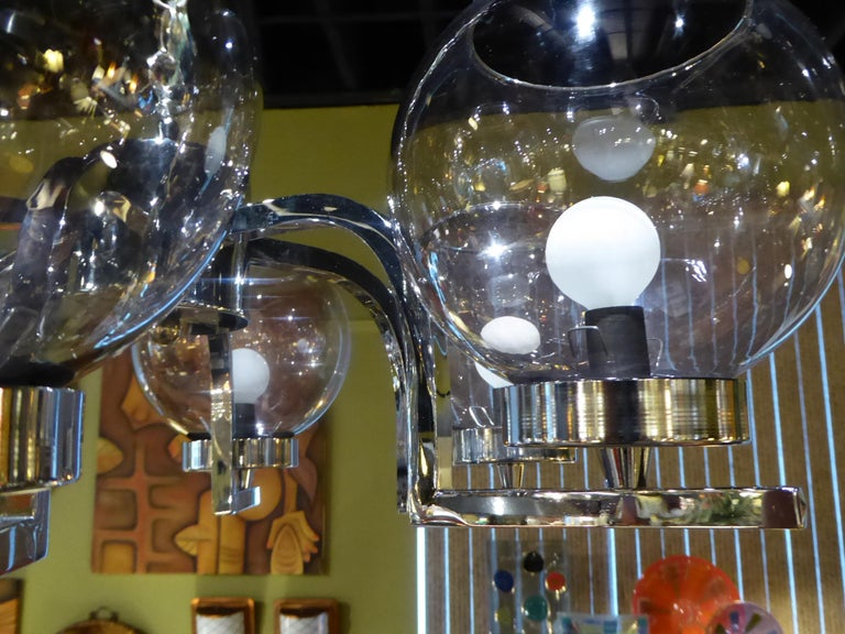 1960s Chrome and Smoked Glass Ball Globe Six-Light Chandelier For Sale 2