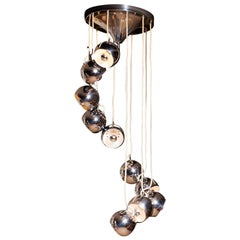 1960s, Chrome Waterfall Chandelier with Adjustable Globes by Lampadari Reggiani