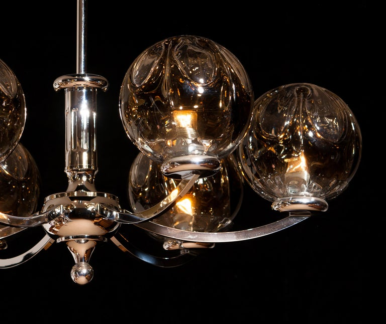 1960s, Chromed Chandelier with Six Crystal Mazzega Globes by Kaiser Leuchten In Good Condition For Sale In Silvolde, Gelderland