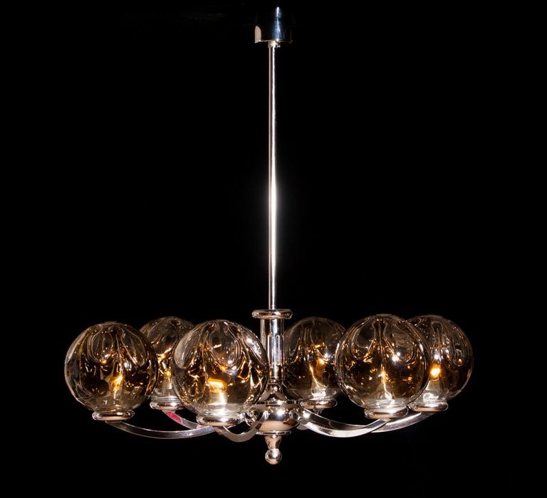 Mid-20th Century 1960s, Chromed Chandelier with Six Crystal Mazzega Globes by Kaiser Leuchten For Sale