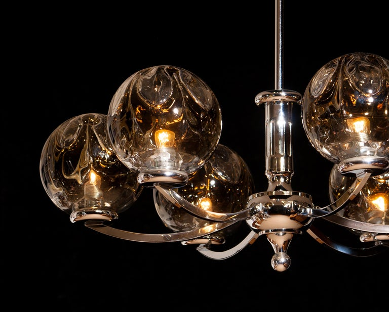 1960s, Chromed Chandelier with Six Crystal Mazzega Globes by Kaiser Leuchten For Sale 1