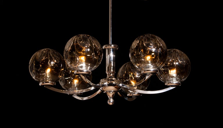 1960s, Chromed Chandelier with Six Crystal Mazzega Globes by Kaiser Leuchten For Sale 2