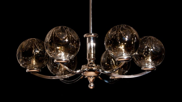 1960s, Chromed Chandelier with Six Crystal Mazzega Globes by Kaiser Leuchten For Sale 3