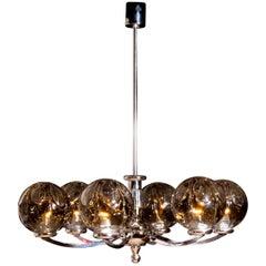 1960s, Chromed Chandelier with Six Crystal Mazzega Globes by Kaiser Leuchten
