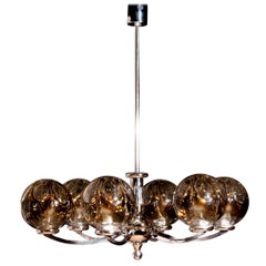 1960s, Chromed Chandelier with Six Crystal Mazzega Globes by Kaiser Leuchten