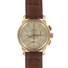 Omega Rose Gold Chronograph Mechanical Wristwatch, 1960s