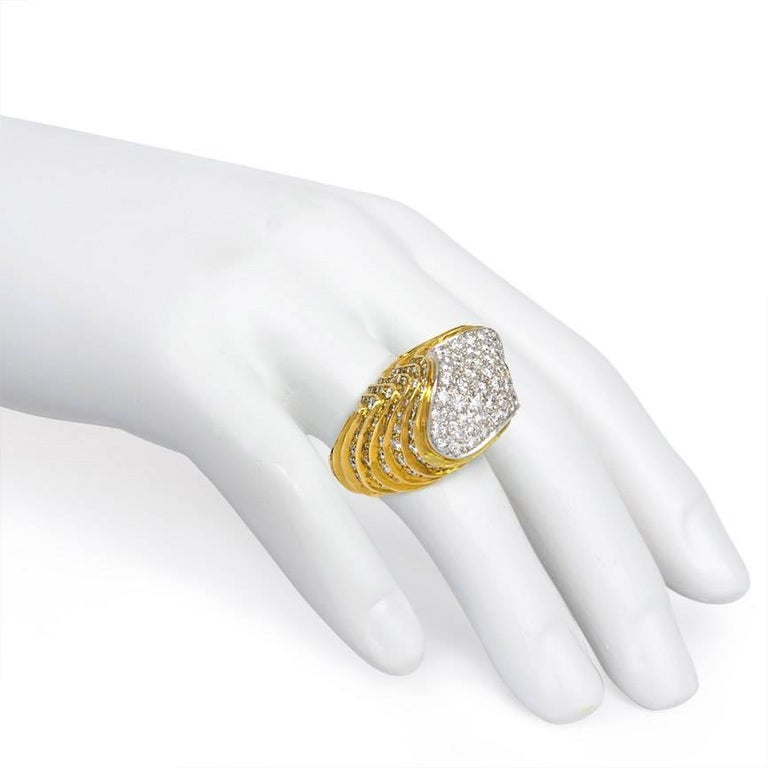 1960s Chunky Diamond Gold Platinum Ring For Sale 1