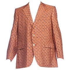 1960S Cinnamon Brown Silk Men's Hand Block Printed Hawaiian Blazer XL