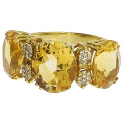 1960s Citrine Diamond Gold Ring