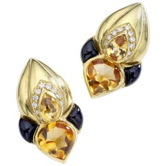 1960s Citrine Onyx and Diamond Yellow Gold Earrings
