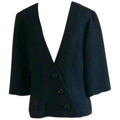 1960s ClaraLura Original Black Asymmetrical Blazer Jacket with Beaded Buttons
