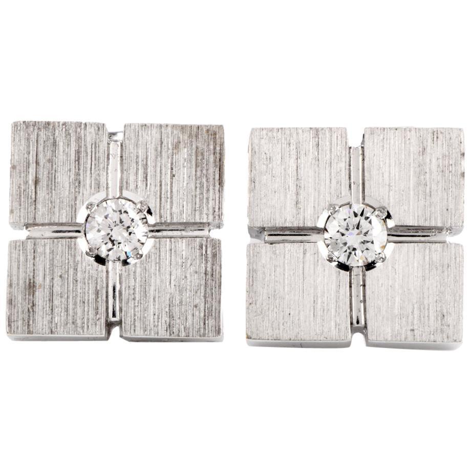 1960s Classic Diamond Square Platinum Men's Cufflinks
