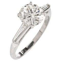 1960s Classic GIA H- VVS2 1.99 Carat Platinum Engagement Ring