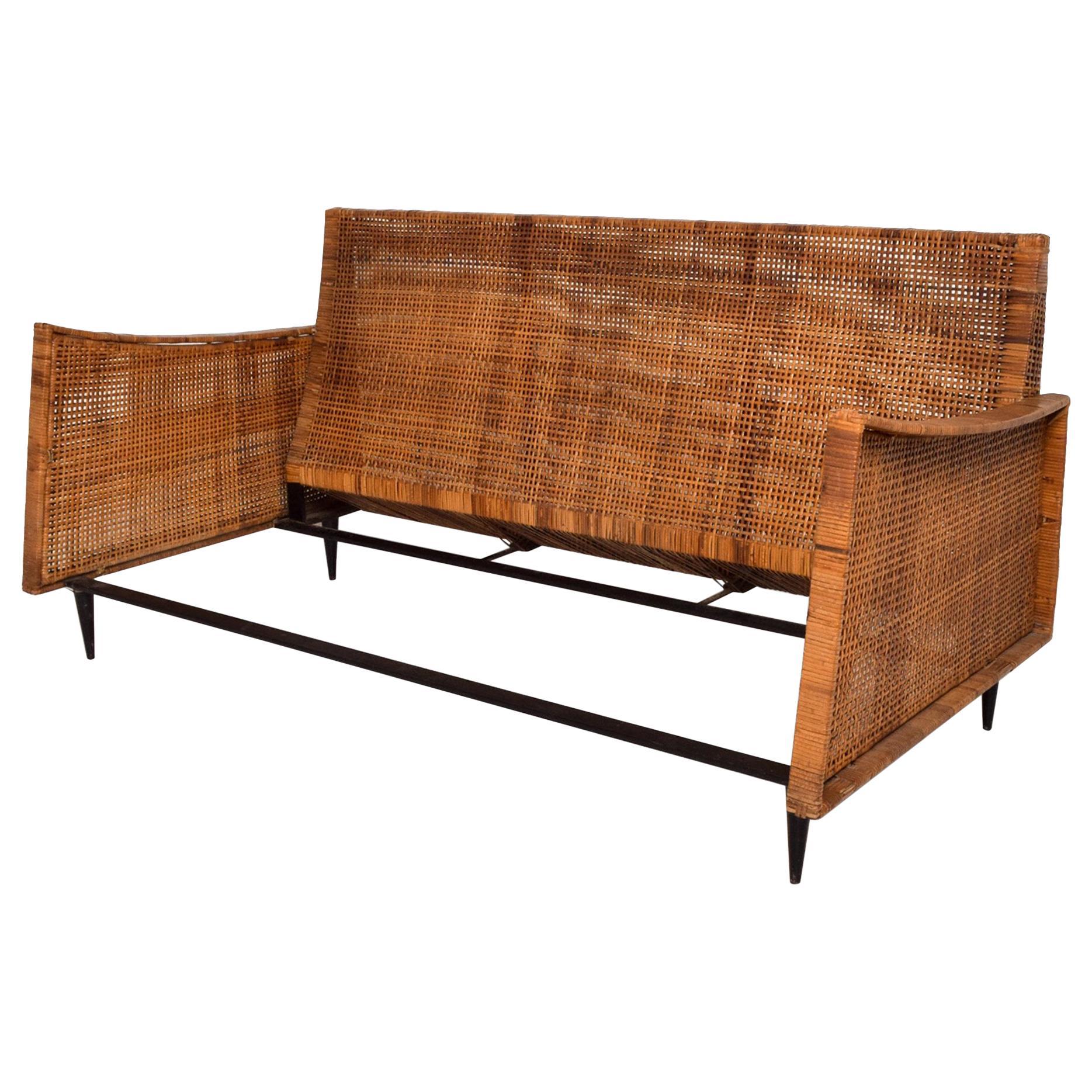 Magnificent Cane Loveseat Sofa Sculptural Settee Arturo Pani Modernism 1960s