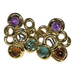1960s Clip-On Gold Earrings with Cabochon Aquamarine, Amethyst and Citrine