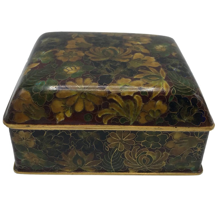 1960s Cloisonné Decorative Lidded Box with Floral Motif